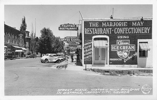Street Scene, Historic Mint Building in Distance, Carson City, Nevada 1939